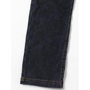 Topstitch Patch Pockets Straight Jeans - BLACK M