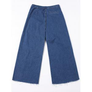 Wide Leg Frayed Hem Jeans - BLUE JEANS M