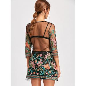 Sheer Embroidered Mesh Dress with Camisole - BLACK M