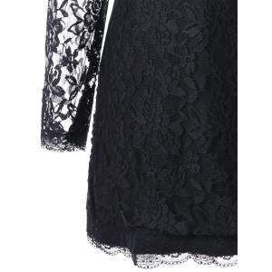 Long Sleeve Slim Mini Lace Dress - BLACK M