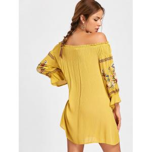 Off The Shoulder Embroidered Mini Dress - YELLOW S