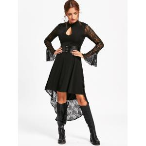 Flare Sleeve High Low Dress with Lace - BLACK S