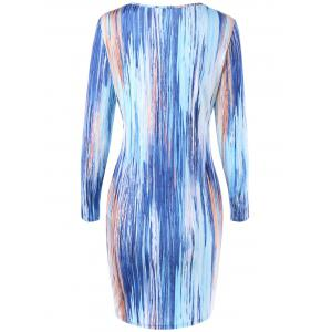 Long Sleeve Painted Bodycon Dress - COLORMIX M