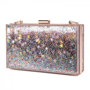 Box Shape Glitter Chain Crossbody Bag -