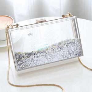 Box Shape Glitter Chain Crossbody Bag - SILVER
