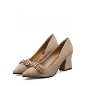 Suede Chunky Heel Buckle Strap Pumps - APRICOT 39
