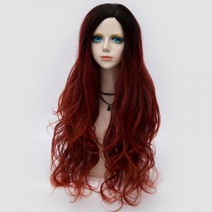 Long Side Parting Layered Shaggy Wavy Colormix Synthetic Party Wig - DARK RED