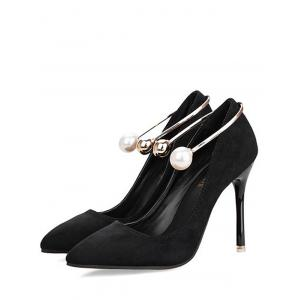 Stiletto Ankle Strap Faux Pearl Pumps - BLACK 36