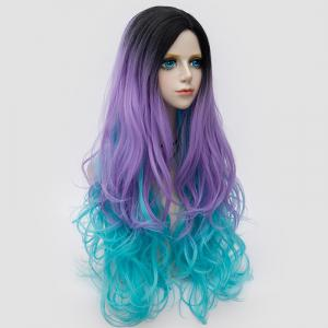 Long Side Parting Layered Shaggy Wavy Colormix Synthetic Party Wig - BLUE + PURPLE