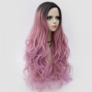 Long Side Parting Layered Shaggy Wavy Colormix Synthetic Party Wig - PINK