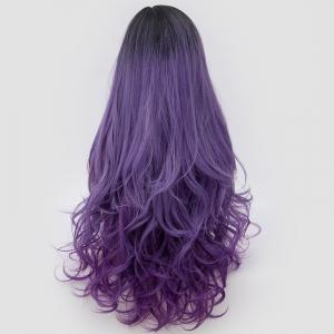 Long Side Parting Shaggy Layered Wavy Colormix Synthetic Party Wig - PURPLE
