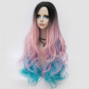 Long Side Parting Shaggy Layered Wavy Colormix Synthetic Party Wig - PINKISH BLUE
