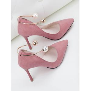 Stiletto Ankle Strap Faux Pearl Pumps - PINK 39
