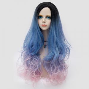 Long Side Parting Shaggy Layered Wavy Colormix Synthetic Party Wig -