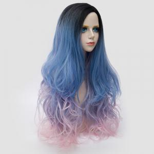Long Side Parting Shaggy Layered Wavy Colormix Synthetic Party Wig - BLUE AND PINK