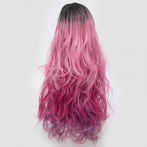 Side Parting Layered Shaggy Long Wavy Colormix Synthetic Party Wig - PINK