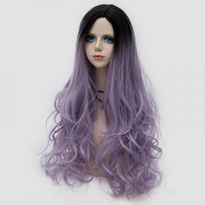 Side Parting Layered Shaggy longue perruque ondulée Colormix Synthetic Party - Suède Rose