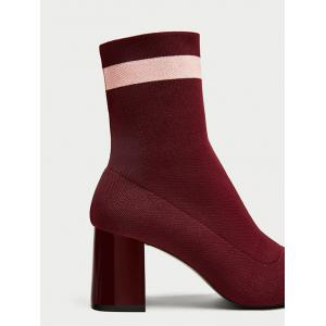 Color Block Pointed Toe Striped Boots - WINE RED 34