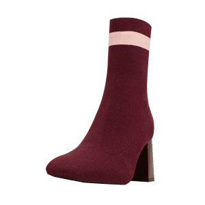 Color Block Pointed Toe Striped Boots - WINE RED 39