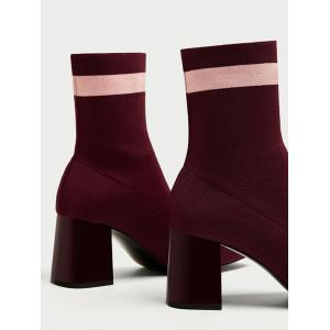 Color Block Pointed Toe Striped Boots -