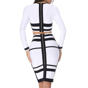 Color Block Two Piece Bodycon Bandage Dress - WHITE AND BLACK XS