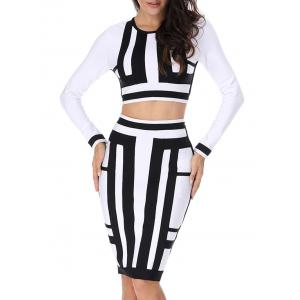 Color Block Two Piece Bodycon Bandage Dress -