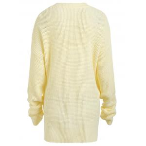 Casual Plus Size Knit Crew Neck Sweater - LIGHT YELLOW ONE SIZE