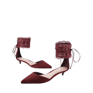 Ankle Strap Two Pieces Pointed Toe Sandals - WINE RED 35