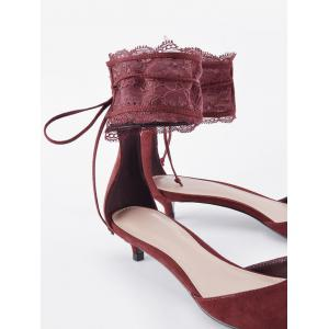 Ankle Strap Two Pieces Pointed Toe Sandals - WINE RED 36