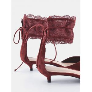 Ankle Strap Two Pieces Pointed Toe Sandals - WINE RED 37