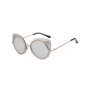 Rhinestones Embellished Cat Eye Mirror Sunglasses - SILVER