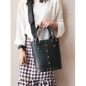 Faux Leather Rivet Tote Bag -