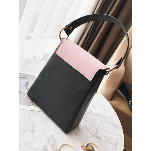 Faux Leather Embossing Color Block Handbag -