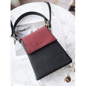 Faux Leather Embossing Color Block Handbag - Rouge vineux