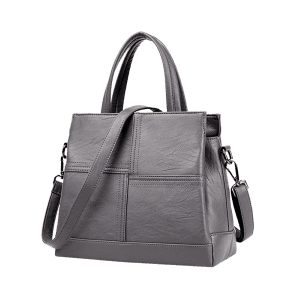 Faux Leather Cross Stitching Tote Bag -