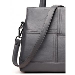 Faux Leather Cross Stitching Tote Bag - GRAY