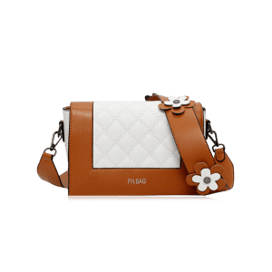 Color Block Flower Quilted Crossbody Bag -