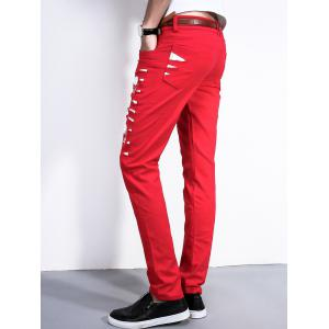Faux Leather Insert Skull Pattern Pants - RED 36