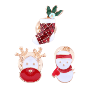 3PCS Christmas Snowman Elk Stocking Brooches - RED