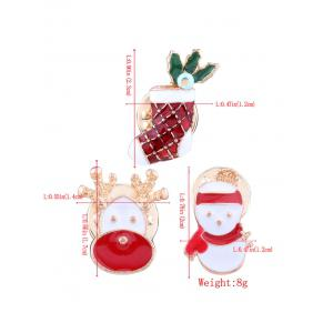 3PCS Christmas Snowman Elk Stocking Broches -
