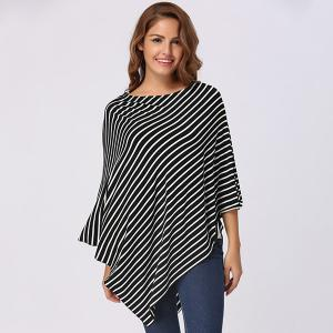 Stripe Print Nursing Cover - BLACK