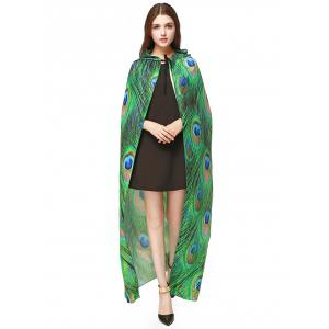 Magic Cloak with Peacock Feather Print - GREEN