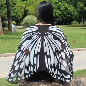 Colorful Butterfly Wings Scarf - BLACK WHITE