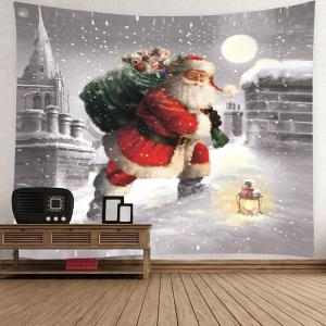 Santa Claus Walking In the Snow Patterned Tapestry -