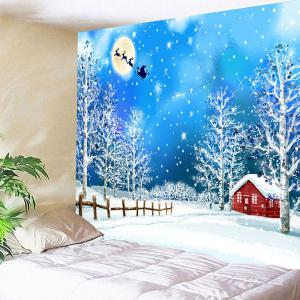 Snows and Trees Pattern Waterproof Christmas Wall Art Tapestry - COLORFUL W79 INCH * L71 INCH
