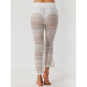 Lace See Through Flare Pants - WHITE S