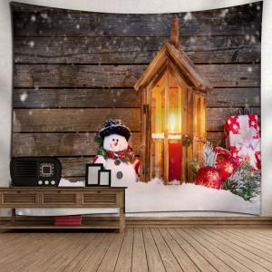 Christmas Snowman Wood Candle Wall Tapestry - WOOD COLOR W91 INCH * L71 INCH