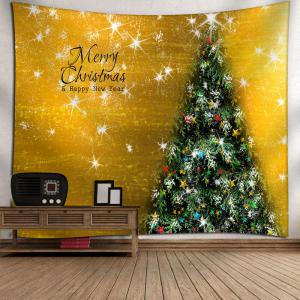 Merry Christmas Tree Printed Wall Tapestry - GOLDEN W59 INCH * L51 INCH