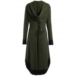 High Low Hooded Plus Size Lace-up Coat - ARMY GREEN XL