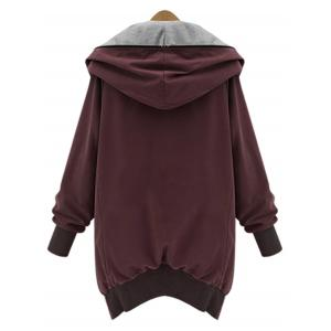 Hooded Plus Size Zip Up Coat - WINE RED 5XL